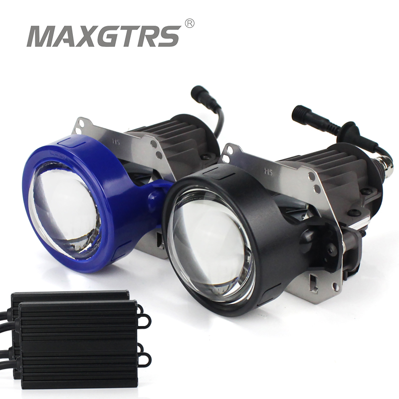 High Quality MAXGTRS Car Bi-LED Projector Lens LED Headlight Hi Lo Beam Car-Styling 35W 5500K Retrofit Kit Auto Lighting yy 3 0 inch bi led projector lens headlight 35w 6000k hi lo beam auto lighting headlamp car styling car led headlight auto parts