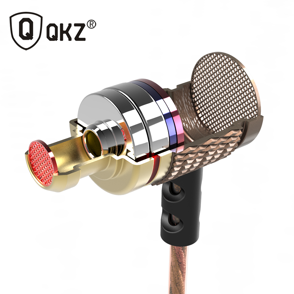 QKZ DM6 HD HiFi Earphone Tinggi Kepekaan Tinggi de ouvido Edisi Khas Gold Plated Housing Double Drivers Noise Isolating