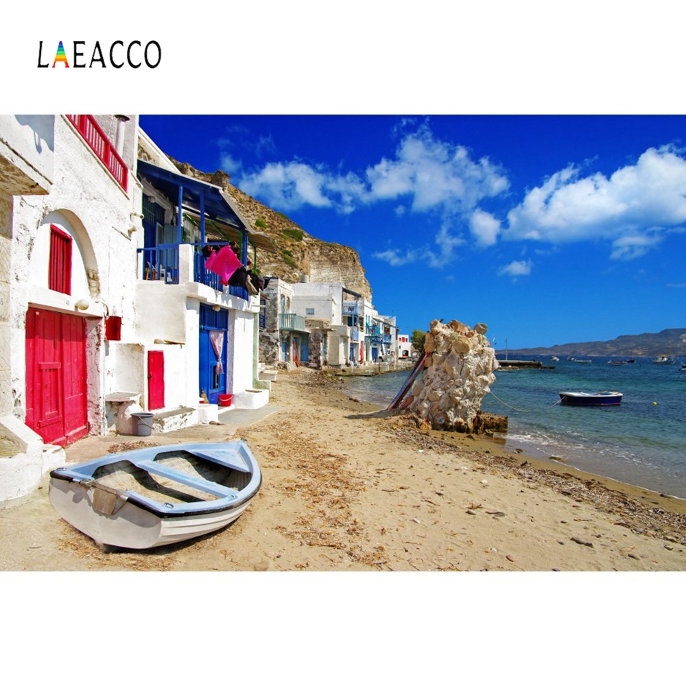 Laeacco Greek Islands House Town Resort Holiday Photography Backgrounds Customized Photographic Backdrops For Photo Studio in Background from Consumer Electronics