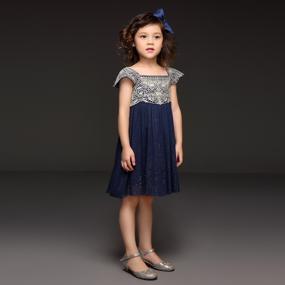 Pettigirl 2018 New Summer Navy Pink Tulle Girls Dress With Exquisite