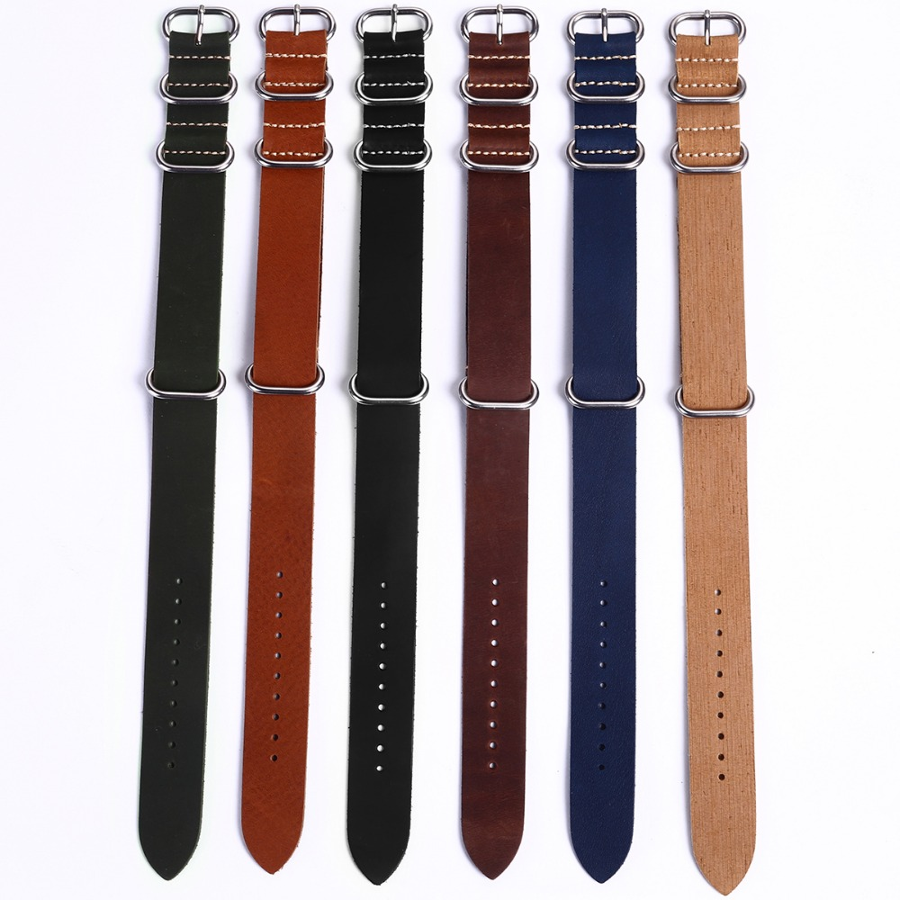EACHE Hot Sale High Quality Genuine Leather ZULU WatchBand ZULU straps with Silver buckes 18mm 20mm 22mm hot selling high quality new arrival genuine leather watchband carbon fiber straps 22mm with stainless steel buckle