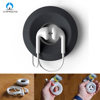 Creative Cute Donut Magnet Silica Headphones Earphone Holder Cable Winder Cord Organizer Box Cord Wire Storage Case Managemet