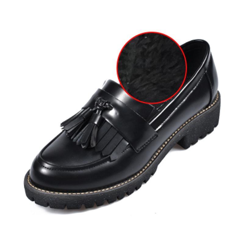 Parte Único Primavera Borla marrón Superficial Mujer Zapatos Negro Nuevo  2018 Otoño Viento Cuero Y Plana ... bf3bf63d845