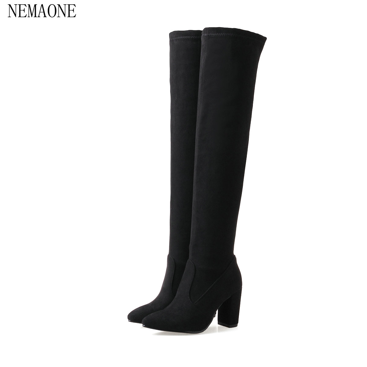 NEMAONE 2018 Women Over The Knee High Boots Solid Fashion Square Heel Round Toe Women All Match Women Motorcyle Boots Size 34-43 qutaa 2017 women over the knee high boots all match pointed toe high quality thin high heel pointed toe women boots size 34 43