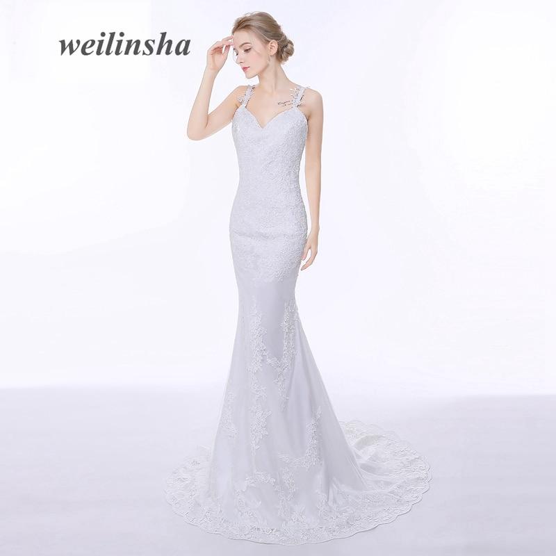 weilinsha Murah Mermaid Wedding Dresses 2018 V Neck tanpa lengan Backless Lace Pengantin Pakaian lantai-panjang Gaun Perkahwinan Dalam Stok