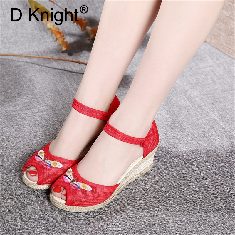 Espadrilles Platform Ankle-Strap Vintage Sandals Shoes Summer Women Pumps High-Heels