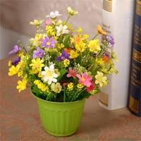 Artificial Small Cuihua Silk Flower Resin Vase Flowers Pot Set Home Living Room Decoration Flower Wedding