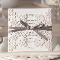 100Pcs Hollow Lace Laser Cut Wedding Invitation Card Greeting Card With Ribbon Personalized Custom Print Event