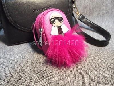 Карл мини рюкзак мешок шарма лисий мех помпонное сумка ошибка милые пушистые сумки педант брелки брелок кожа