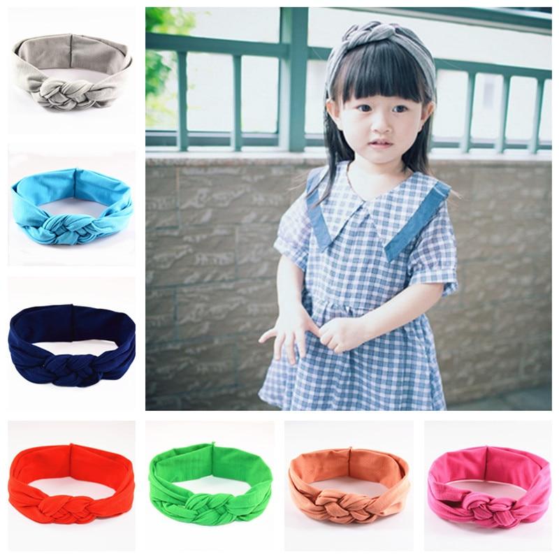 48pcs/lot Girls Cotton Headbands Handmade Knitted Knot Headwear High Elastic Bohemia Style Hair Accessories FDA118