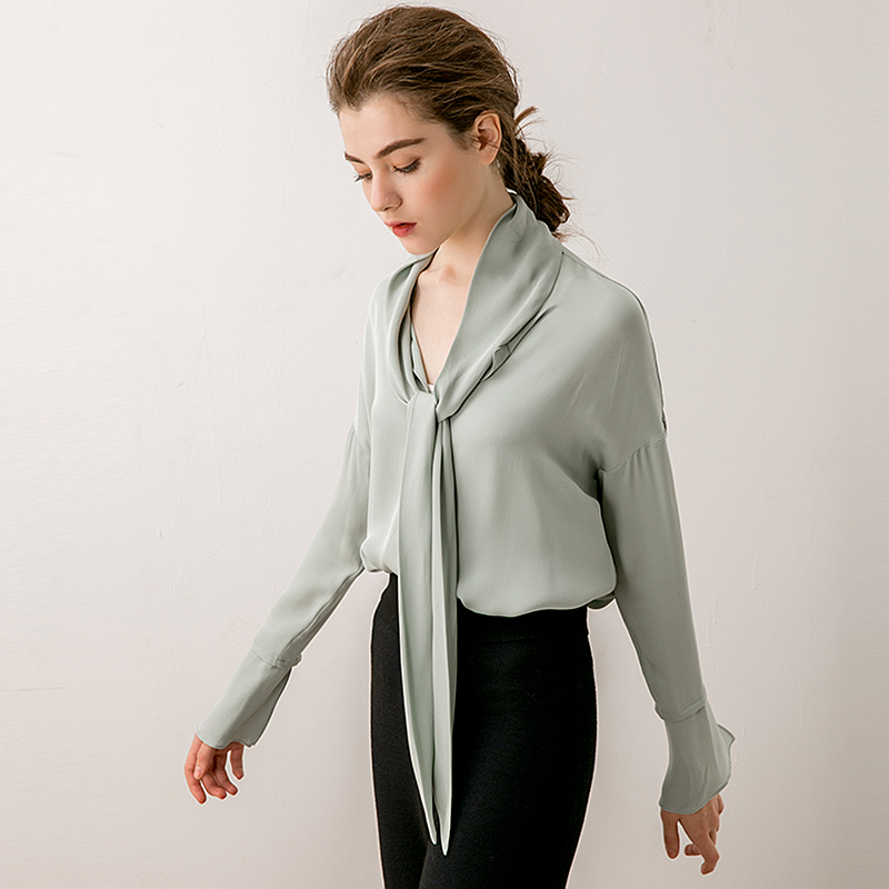 100 Heavy Silk Blouse Women Shirt Vintage Design Solid Long Sleeves 4 Colors Office Work Top