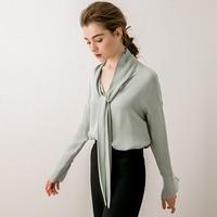 100% Тяжелая шелковая блузка женская рубашка винтажный дизайн однотонная с длинными рукавами 4 цвета офисный Топ Элегантный Стиль Новая мода