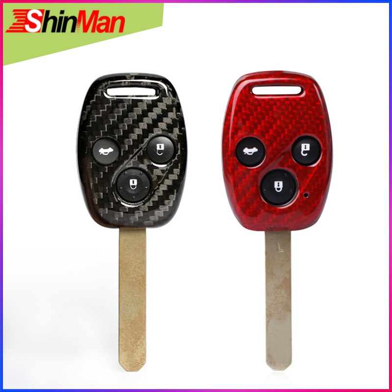ShinMan Carbon Fiber 3Button Remote Key Car key Case Key Cover For Honda CR-V crv Civic Odyssey Civic Accord City Jazz Fit title=