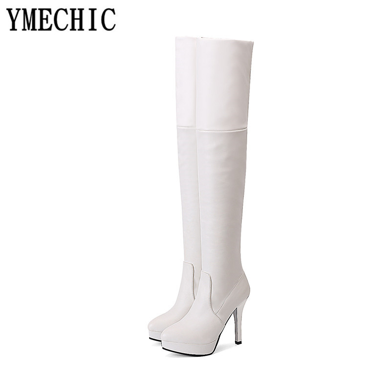 Ymechic blanc forme Plate Hiver 2018 Sexy Débarrasser Noir Femmes Bottes Knee Talons Hauts Pu flock Over Automne Grande High Taille marron Chaussures Brun Dames rnwgfWxrqY
