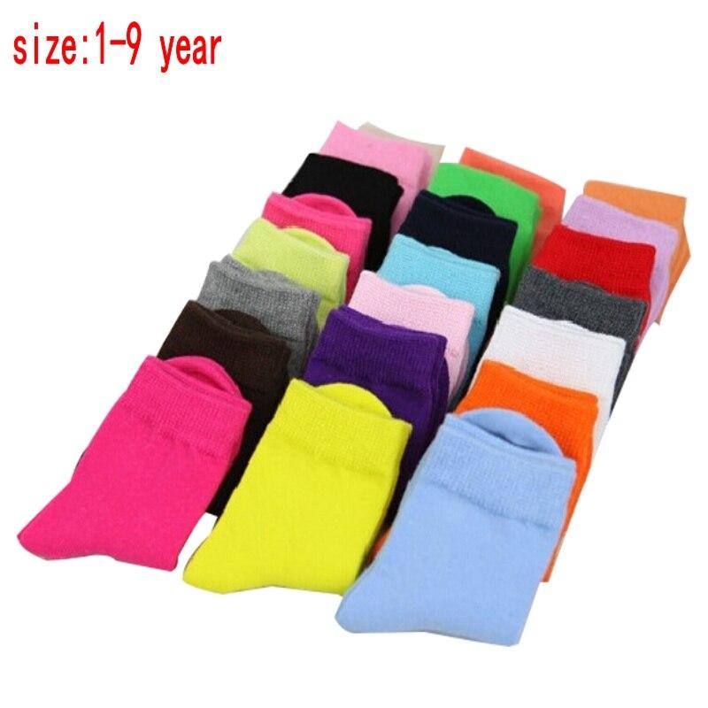 5 Pairs / 1 Lot Spring&autumn Candy Color Cotton Children Socks Boys Socks / Socks For Girls 1-9 Year Sport Kids Socks