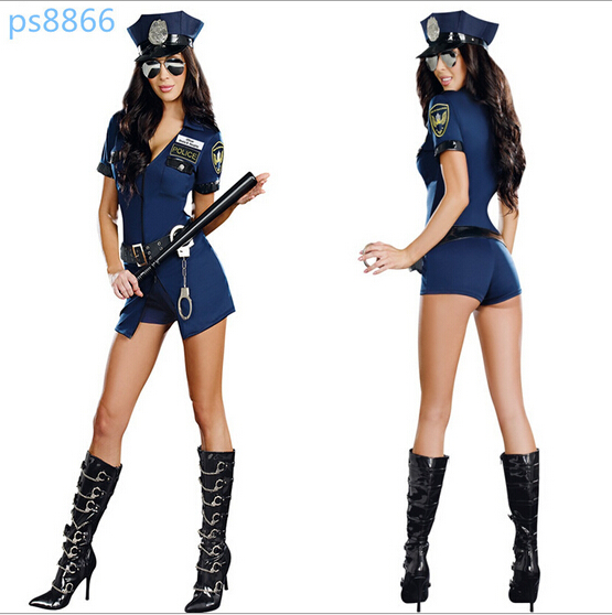 free shipping sexy lingerie police woman costume for cosplay police costume halloween costumes with hat handcuffs