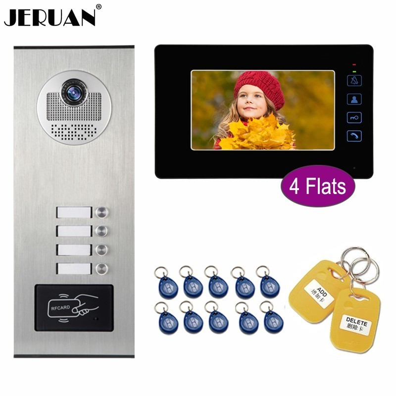 JERUAN Wired 7 Inch Video Door Phone Doorbell Monitor Entry Intercom System Kit HD Access RFID Camera 4/5/6/8/10/12 Apartments jeruan new 7 inch color lcd wired video door phone doorbell home entry intercom kit system 8 monitor 1 infrared night camera