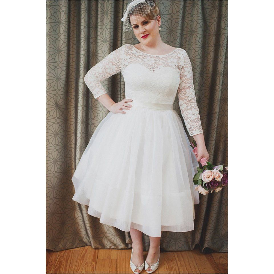 Plus Size Dresses To Wear To A Wedding: Plus Size A Line Wedding Dresses 2019 New Scoop Neck Tea