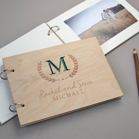 Personalised Wedding Gift Book : Book Wooden Guest Book Rustic Wedding Memory Book Engagement Gift ...