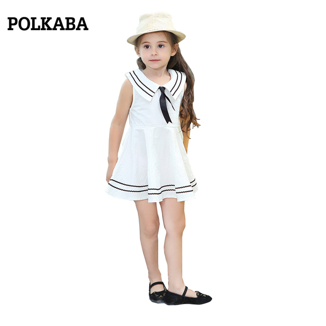 1-9 Years Girls Sailor Dresses Bow Neck Baby Girl Frocks Cotton Sleeveless  Navy Style Lapel Striped White Color Girls Dress 2018 d7573e1df8d