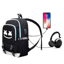 4a01fae5b kpop Marshmello school bag American mystery DJ Trendy usb laptop backpack  for girls boys teenagers children's