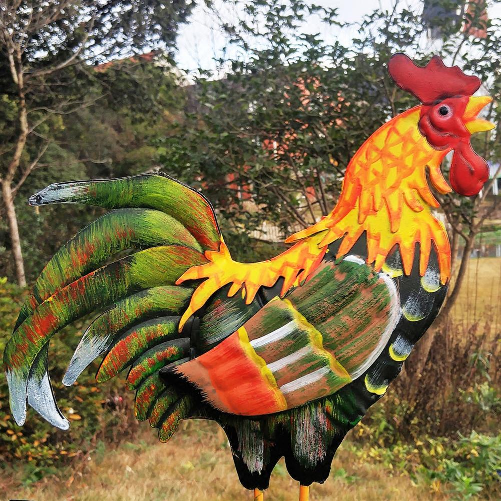 European Traditional Painted Cock Wind Vane Flower Insert Country Style Classic Home Yard Garden Decoration #CW