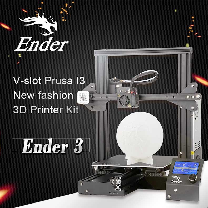 US $196 39 17% OFF|CREALITY 3D Printer Ender 3/Ender 3X Upgraded Tempered  Glass Optional,V slot Resume Power Failure Printing DIY KIT Hotbed-in 3D