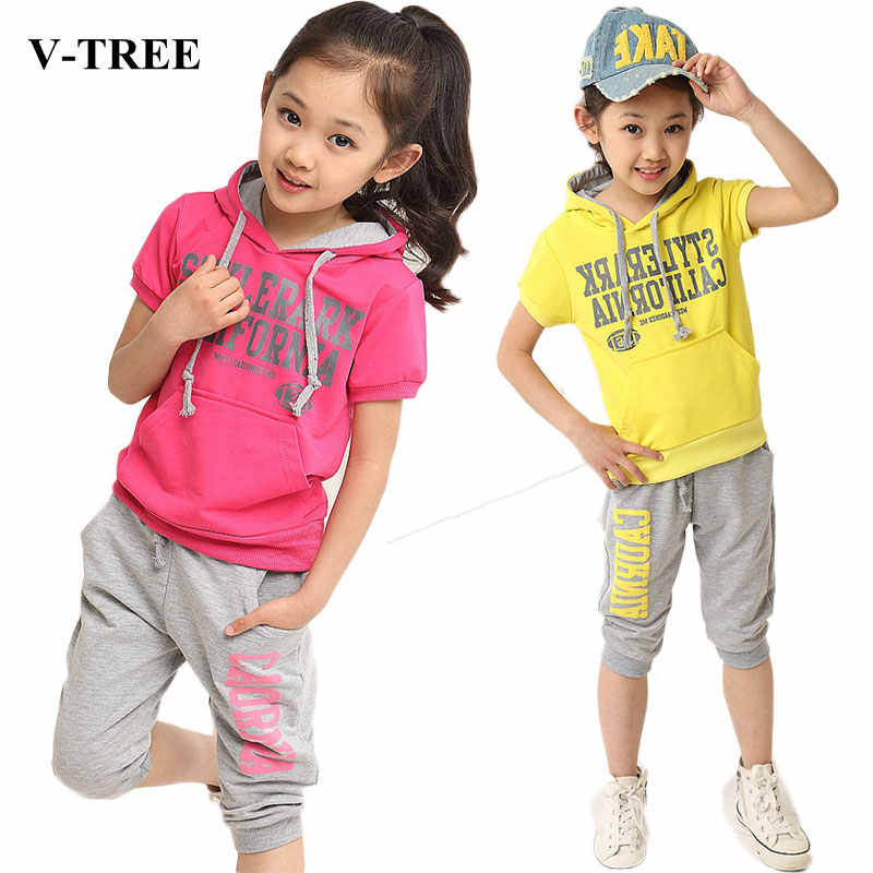 36fabe9e260 Summer 2018 Girls Clothing Set Cotton Hoodies+pants Clothes Set For Girl  Outfits 4-