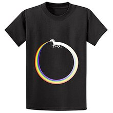 Funny Tee Shirts  O-Neck Awesome Ouroboros Unicorn Rainbow Vomit N Personal Men Short Design T