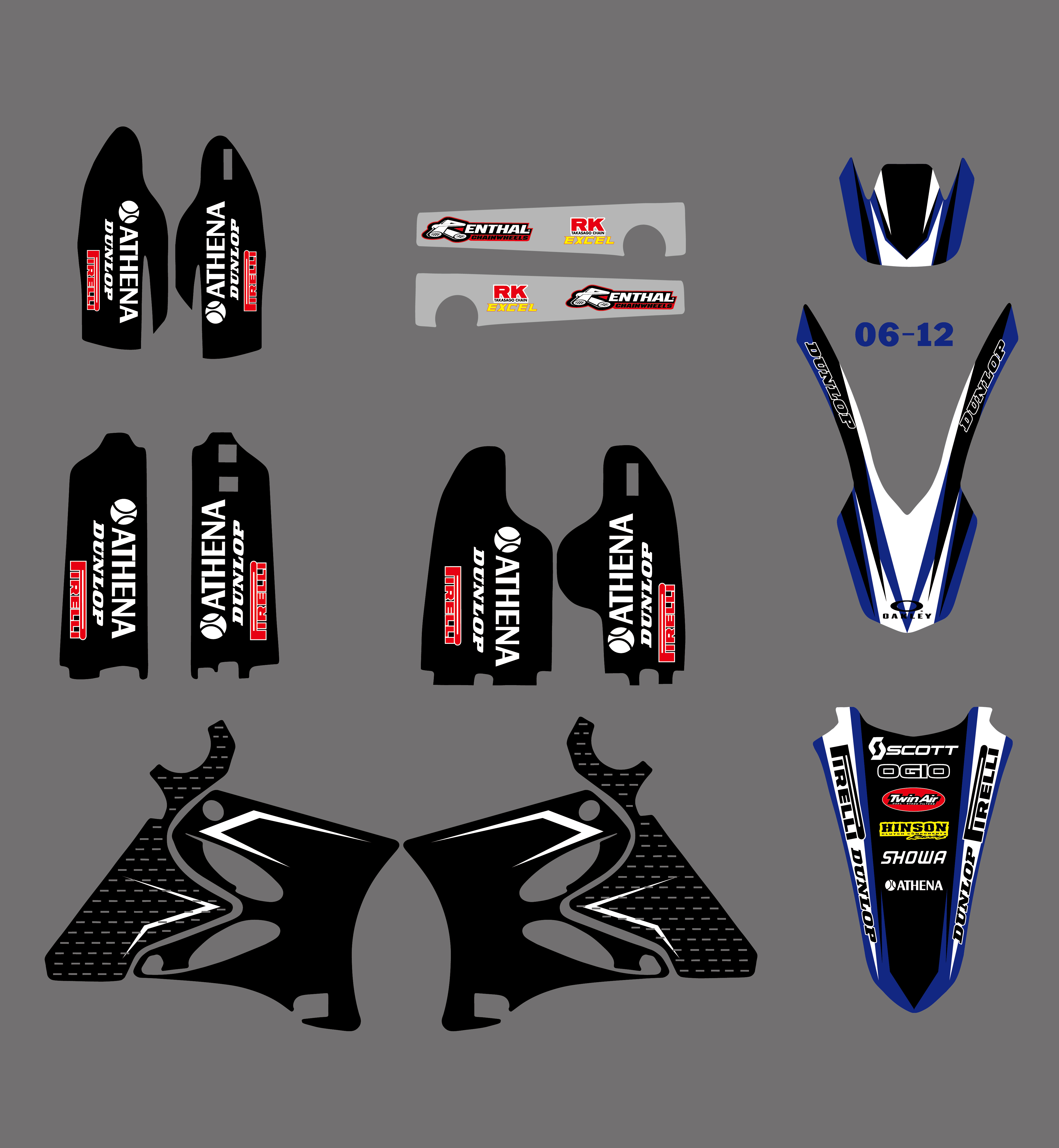 Nicecnc 0126 1 set team graphic decal fender fork tank stickers for yamaha yz125 yz250 yz 125 250 2002 2010 2011 2012 2013 2014 in decals stickers from
