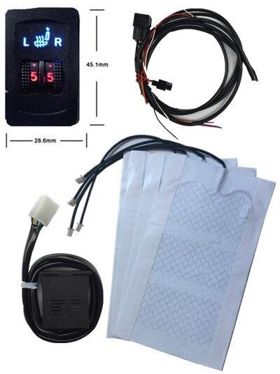 2 asientos para el conductor y pasajero/Universal fibra sistema del calentador del asiento de coche cinco velocidad interruptor doble rueda para coche