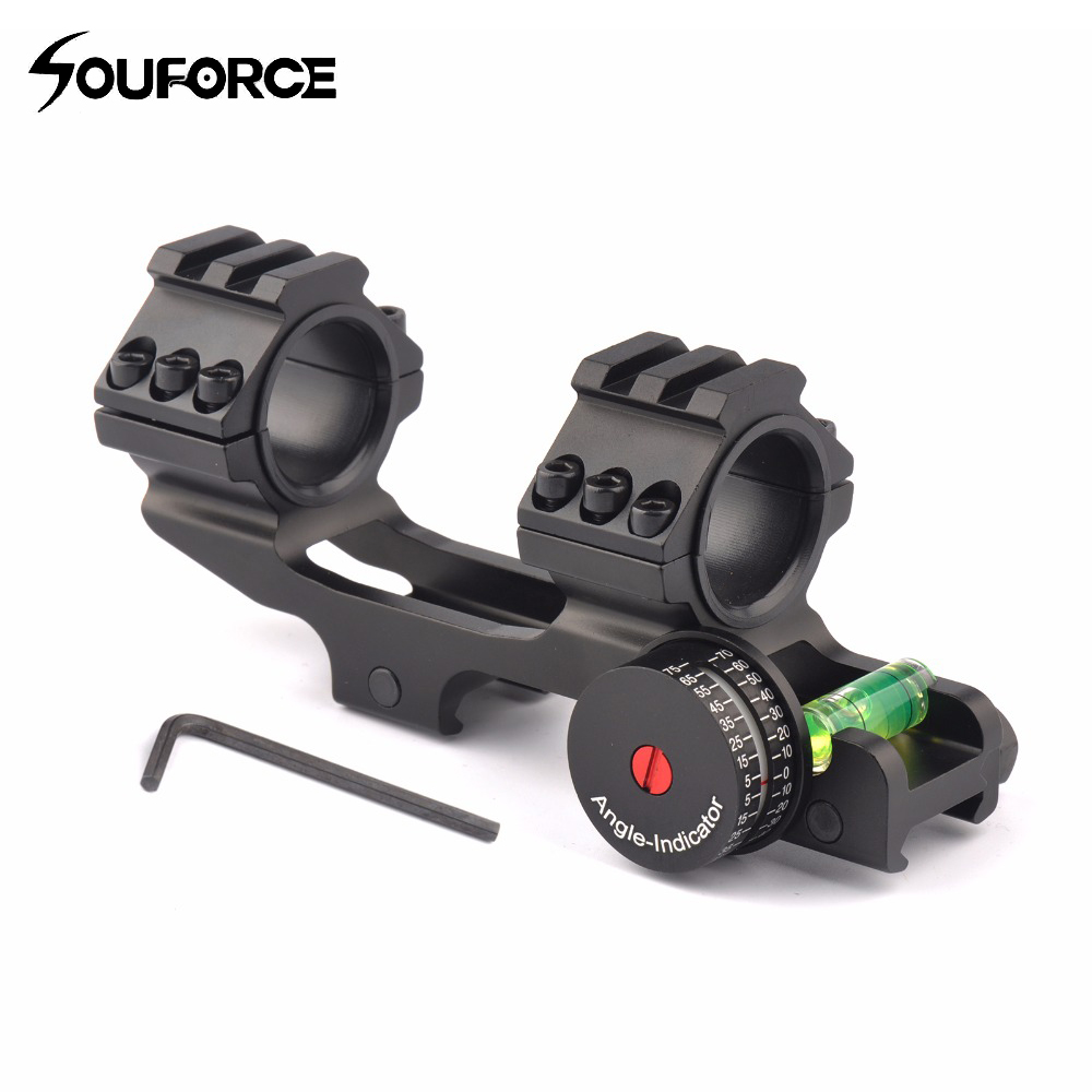 Tactical 25.4/30mm Scope Ring Base Mount with Angle Indicator and Spirit Buble Level for Hunting Accessories ...