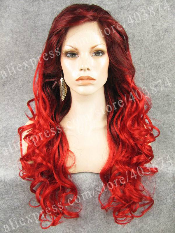 ФОТО New Arrival Beautiful Leila Wig Long Wavy Red Two Tone Beyonce Hairstyle Synthetic Lace Front Wig