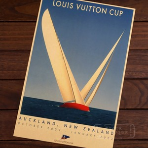 Ship Sailing CUP / AUCKLAND New Zealand NZ Vintage Retro Canvas Painting Frame Poster DIY Wall Home Posters Home Decor Gift(China)