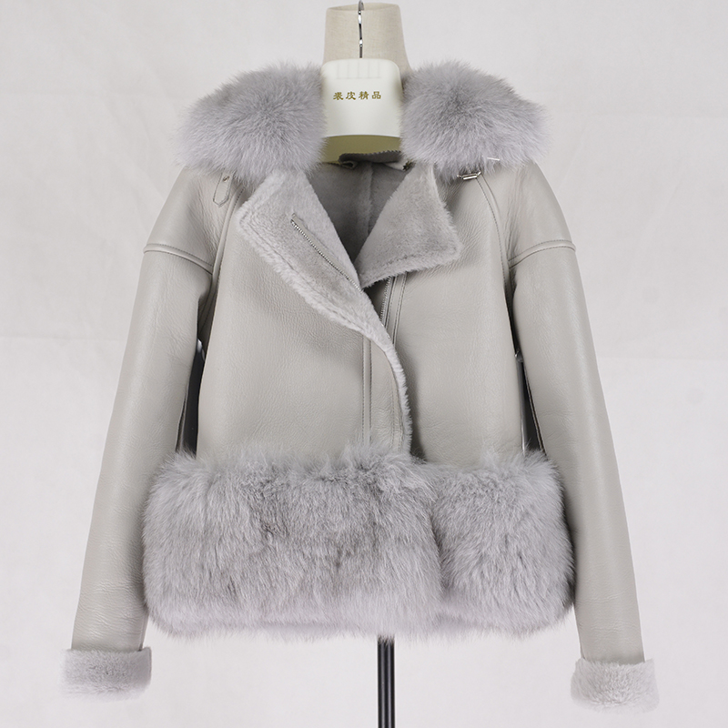 fa4ba75603bf Short Shorn Sheepskin Double faced coat Winter women Sheep Sheared coat  Real Leather Jacket coat with