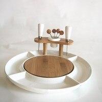 Convenient Ceramics Fruits and Candies 4 Division Dish Set Porcelain Dinnerware and Kitchenware Plate Utensil Decor Accessories