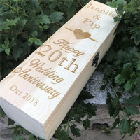 Customized Wooden Wine Box, Personalized Anniversary Wooden Wine Gift Box, Engraved Name Champagne Bottle Holders