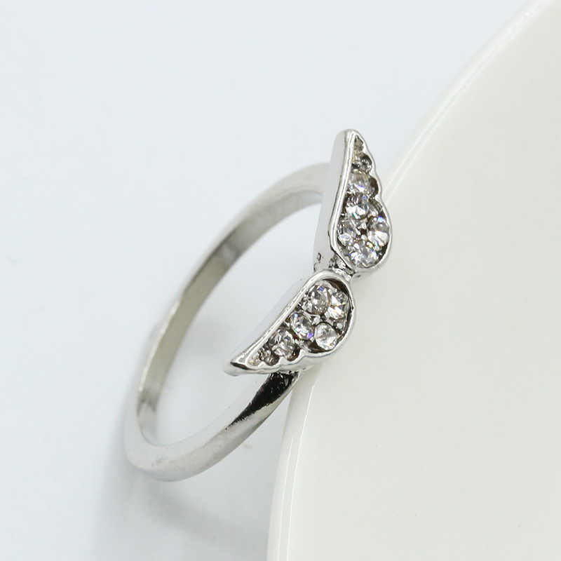 C479 Hot Sale Fashion Crystal Wing Ring Wedding Engagement For Women Crystal Anillos Cheap Anel Girl Birthday Gift