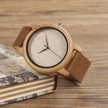 Men's Luxury Bamboo Wristwatches With Leather Strap