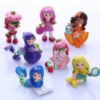 7Pcs Set 2016 New Lovlely Strawberry Shortcake Cupcake Cake Mini Action Figure Toy Princess KIds Girls