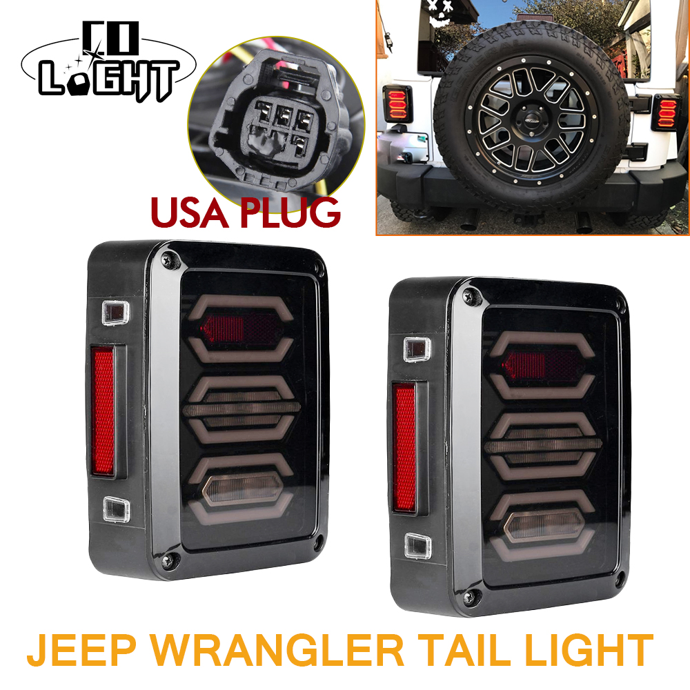 CO LIGHT 2pcs Waterproof LED Tail Light Rear Lamps Boat Trailer 12V Rear Parts for Trailer Truck Reverse Indicator Jeep Wrangler