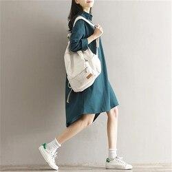 2018 New Spring Autumn Cotton Line Dress Women Vintage Literature  Long Sleeved Shirt Dresses Female Vestidos Z302 2