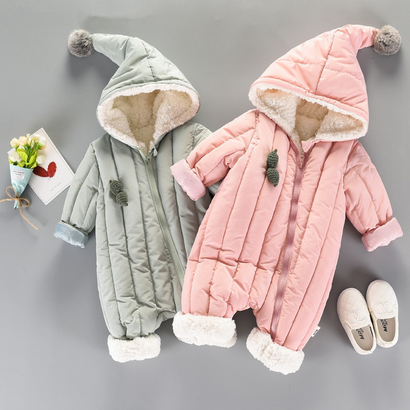 Baby Snowsuit Winter Infant Boys Girls Jumpsuit Thick Rompers Newborn Toddler Baby Overalls Clothes Hooded Warm Outdoor Clothing free shipping winter newborn infant baby clothes baby boys girls thick warm cartoon animal hoodie rompers jumpsuit outfit yl