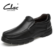 CLAX Mens Black Leather Shoes Genuine Leather Summer Autumn Dress Shoe Male Formal Shoe Slip on office Footwear Soft Breathable цена
