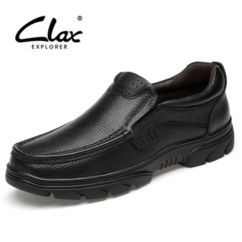 CLAX Mens Black Leather Shoes Genuine Leather Summer Autumn Dress Shoe Male Formal Shoe Slip on office Footwear Soft Breathable