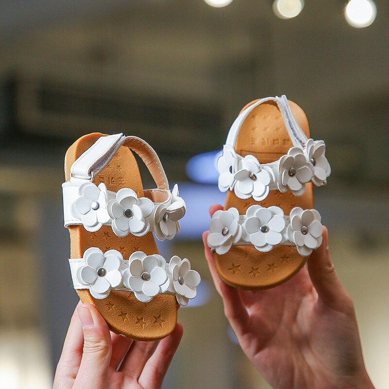 ULKNN Flowers Sandals For Children's Girls Sandals Baby Beach Shoes Kid's Princess Flower Shoes Children's Non-slip Soft Bottom