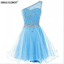 SINGLE ELEMENT Sexy Mini One Shoulder Short Tulle Prom Dress