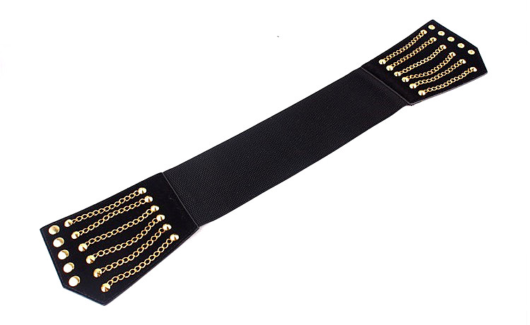 HTB1ykKbktnJ8KJjSszdq6yxuFXas - Super Wide Waist Belt For Women Fashion Metal Chain Rivet Body Shaping PU Waist Bands High Waist Elastic Dress Belts