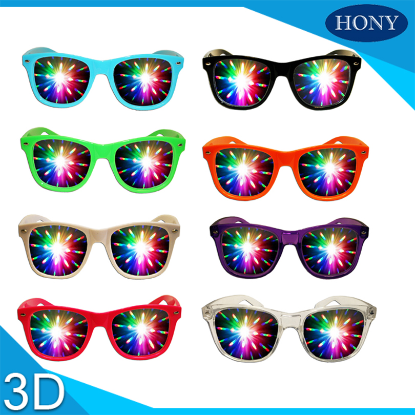 Vr/ar Devices 2pcs Premium Plastic 3d Raves Prism Diffraction Glasses For Holiday Lighting Parades,fireworks And Exhibitions Laser 3d Glasses/ Virtual Reality Glasses