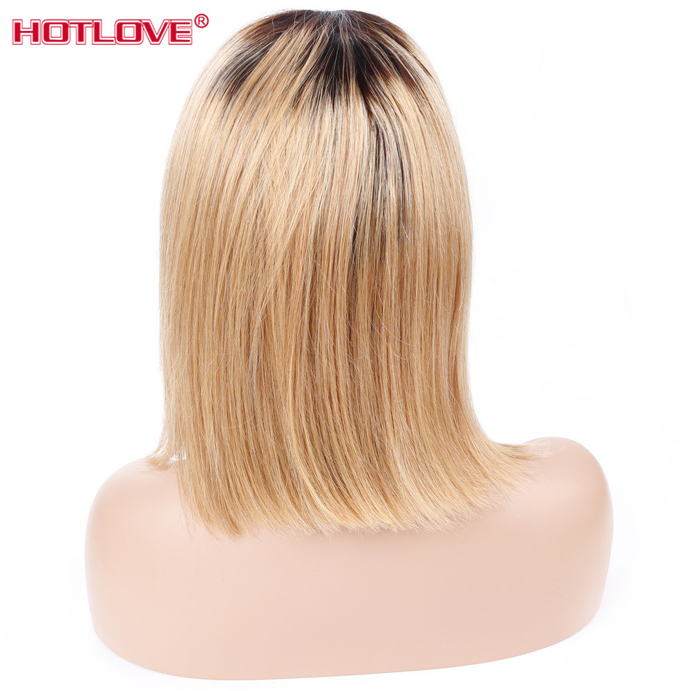 Devoted Hotlove 1b/27 Peruvian Lace Front Human Hair Wigs Pre Plucked Ombre Short Bob Wig For Black Women 150% Density Straight Human Hair Lace Wigs Hair Extensions & Wigs